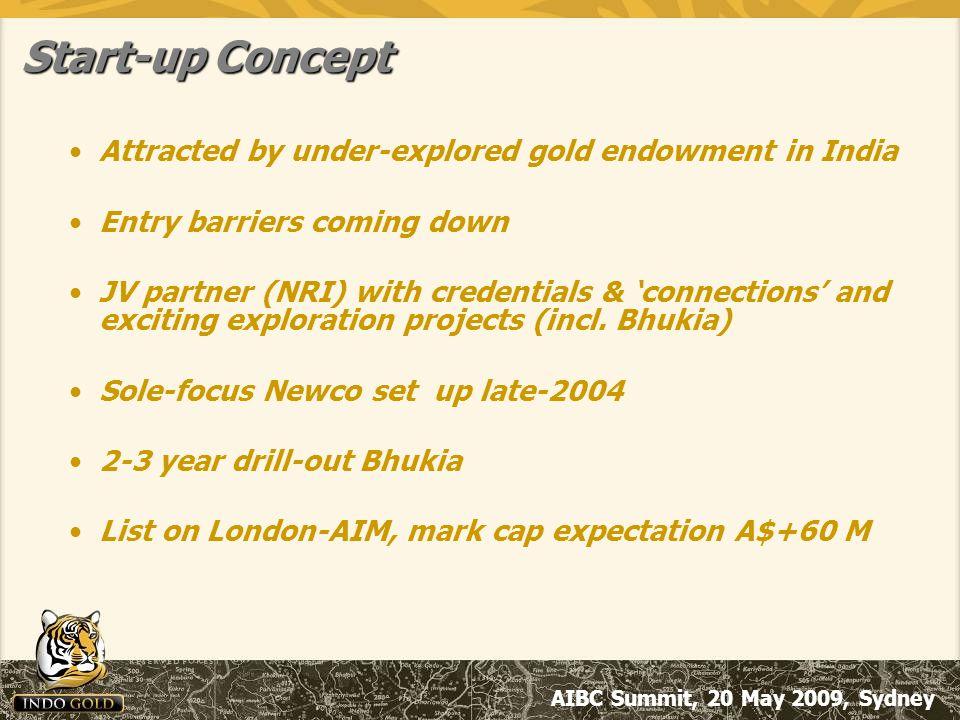 AIBC Summit, 20 May 2009, Sydney Properties Rajasthan main focus –Jagpura Project, Gold (70%) Applications pending elsewhere –Gold, b/metals, diamonds (100%)
