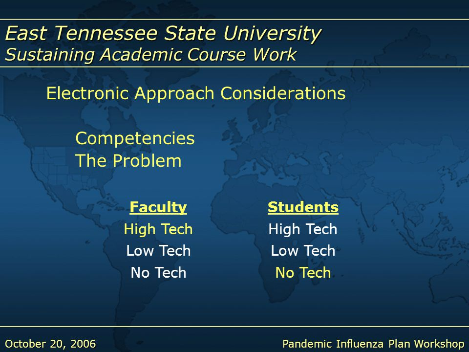 East Tennessee State University Sustaining Academic Course Work October 20, 2006Pandemic Influenza Plan Workshop Electronic Approach Considerations Competencies The Problem FacultyStudents High Tech Low Tech No Tech