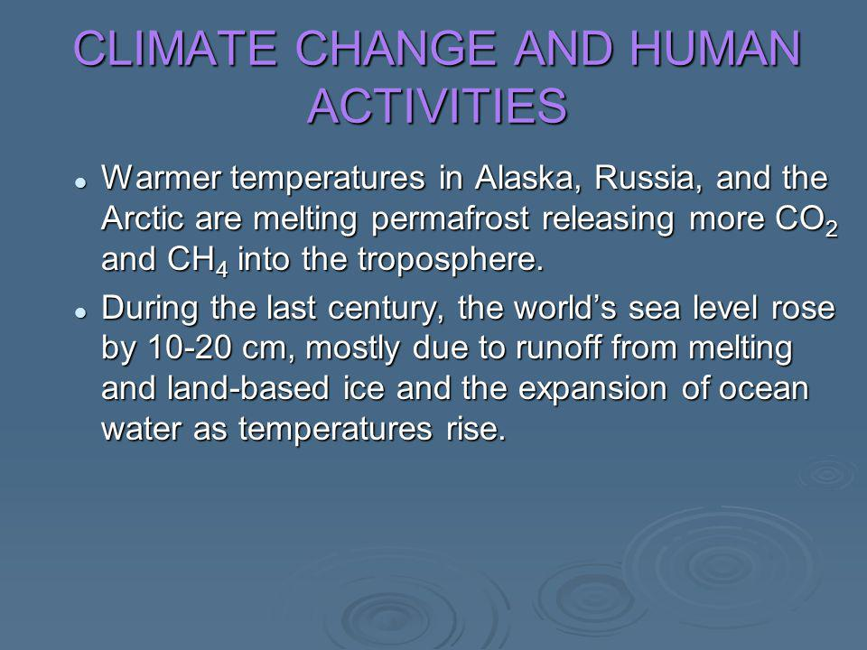 CLIMATE CHANGE AND HUMAN ACTIVITIES Warmer temperatures in Alaska, Russia, and the Arctic are melting permafrost releasing more CO 2 and CH 4 into the