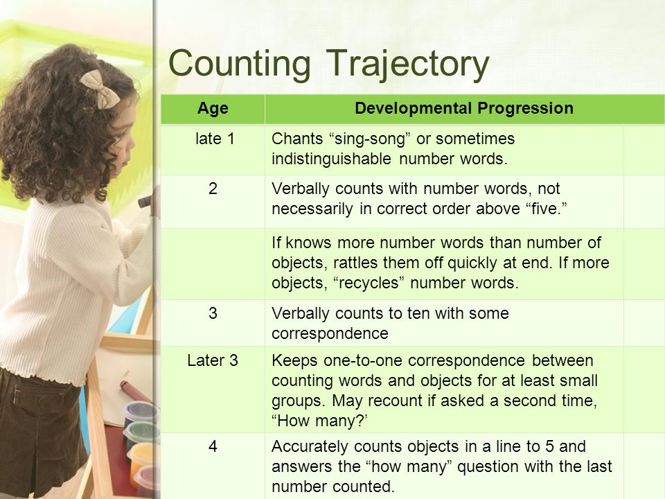 Counting Trajectory AgeDevelopmental Progression late 1Chants sing-song or sometimes indistinguishable number words.