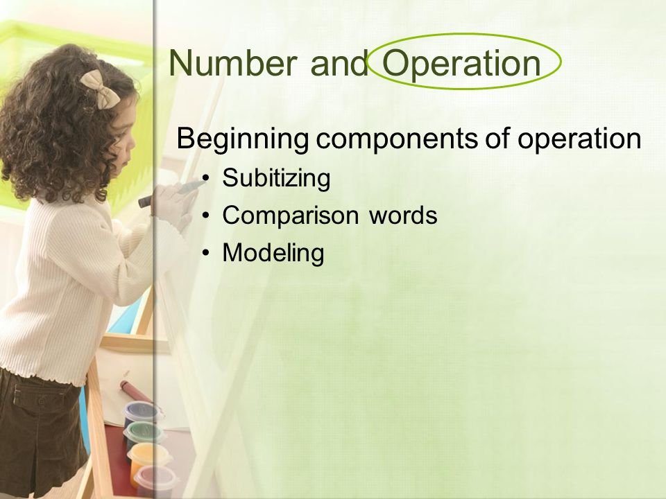 Number and Operation Beginning components of operation Subitizing Comparison words Modeling