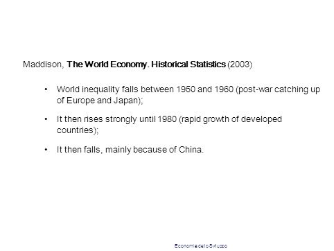 Maddison, The World Economy. Historical Statistics (2003) World inequality falls between 1950 and 1960 (post-war catching up of Europe and Japan); It