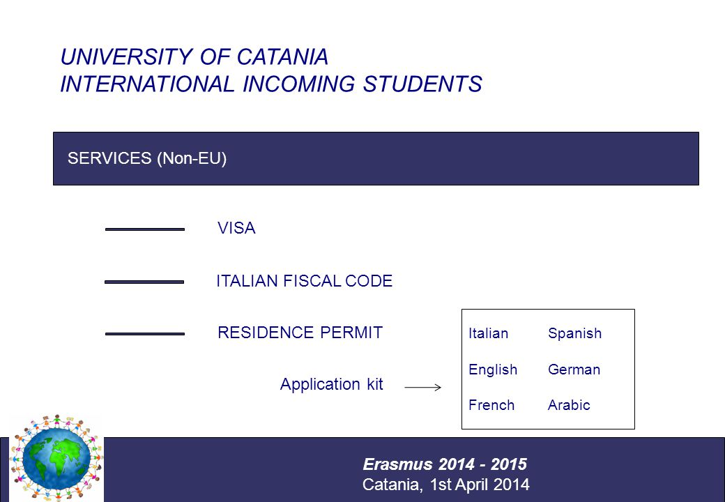 International Relations Office Università degli Studi di Catania SERVICES (Non-EU) UNIVERSITY OF CATANIA INTERNATIONAL INCOMING STUDENTS Erasmus 2014 - 2015 Catania, 1st April 2014 VISA ITALIAN FISCAL CODE RESIDENCE PERMIT Application kit Italian English French Spanish German Arabic