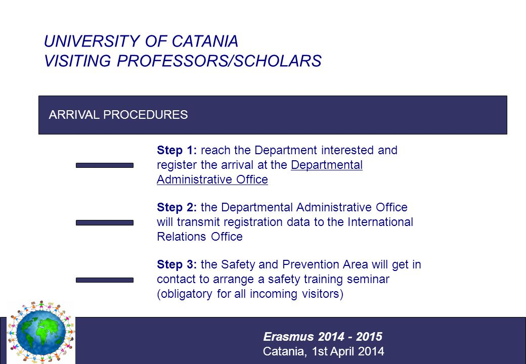 International Relations Office Università degli Studi di Catania ARRIVAL PROCEDURES UNIVERSITY OF CATANIA VISITING PROFESSORS/SCHOLARS Erasmus 2014 - 2015 Catania, 1st April 2014 Step 1: reach the Department interested and register the arrival at the Departmental Administrative Office Step 2: the Departmental Administrative Office will transmit registration data to the International Relations Office Step 3: the Safety and Prevention Area will get in contact to arrange a safety training seminar (obligatory for all incoming visitors)