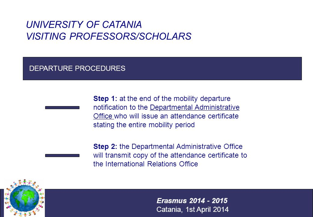 International Relations Office Università degli Studi di Catania DEPARTURE PROCEDURES UNIVERSITY OF CATANIA VISITING PROFESSORS/SCHOLARS Erasmus 2014 - 2015 Catania, 1st April 2014 Step 1: at the end of the mobility departure notification to the Departmental Administrative Office who will issue an attendance certificate stating the entire mobility period Step 2: the Departmental Administrative Office will transmit copy of the attendance certificate to the International Relations Office