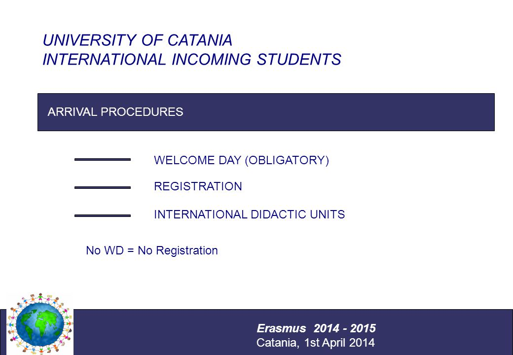 International Relations Office Università degli Studi di Catania ARRIVAL PROCEDURES WELCOME DAY (OBLIGATORY) REGISTRATION INTERNATIONAL DIDACTIC UNITS UNIVERSITY OF CATANIA INTERNATIONAL INCOMING STUDENTS Erasmus 2014 - 2015 Catania, 1st April 2014 No WD = No Registration