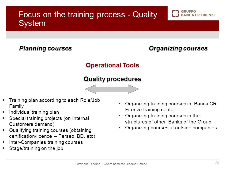 26 Direzione Risorse – Coordinamento Risorse Umane Planning courses Operational Tools Quality procedures  Training plan according to each Role/Job Family  Individual training plan  Special training projects (on Internal Customers demand)  Qualifying training courses (obtaining certification/licence – Perseo, BD, etc)  Inter-Companies training courses  Stage/training on the job Organizing courses  Organizing training courses in Banca CR Firenze training center  Organizing training courses in the structures of other Banks of the Group  Organizing courses at outside companies Focus on the training process - Quality System