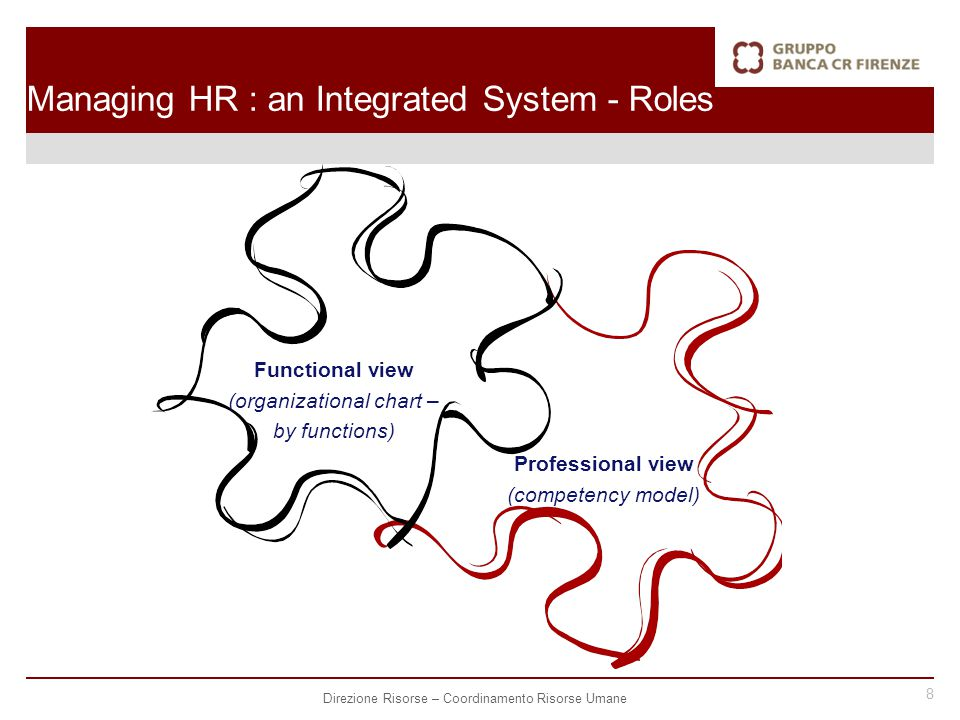 8 Direzione Risorse – Coordinamento Risorse Umane Functional view (organizational chart – by functions) Professional view (competency model) Managing HR : an Integrated System - Roles