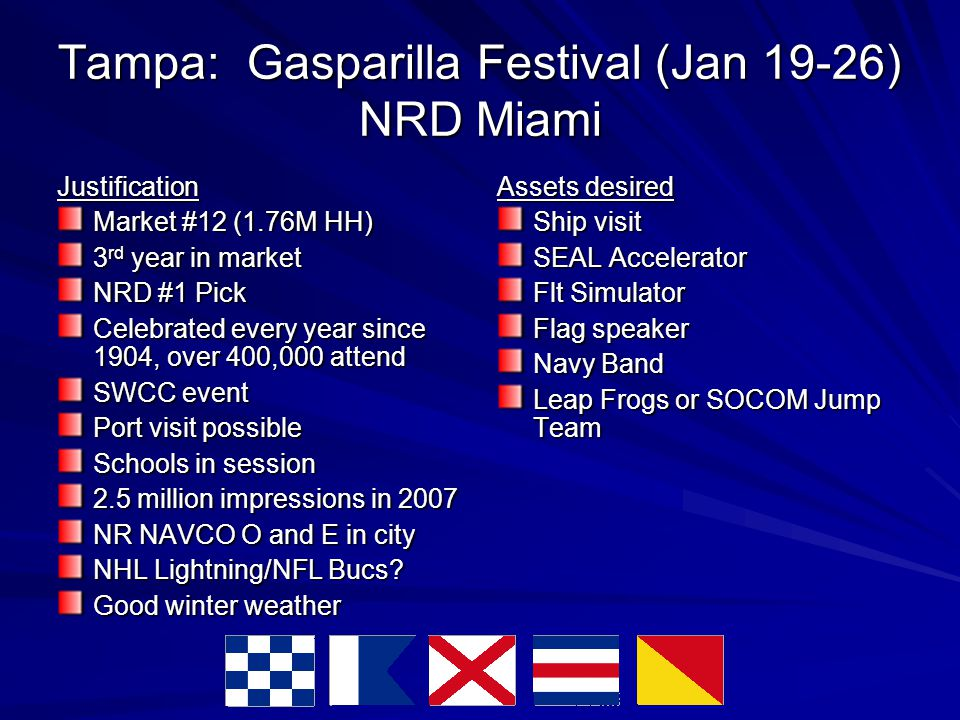 Tampa: Gasparilla Festival (Jan 19-26) NRD Miami Justification Market #12 (1.76M HH)‏ 3 rd year in market NRD #1 Pick Celebrated every year since 1904, over 400,000 attend SWCC event Port visit possible Schools in session 2.5 million impressions in 2007 NR NAVCO O and E in city NHL Lightning/NFL Bucs.