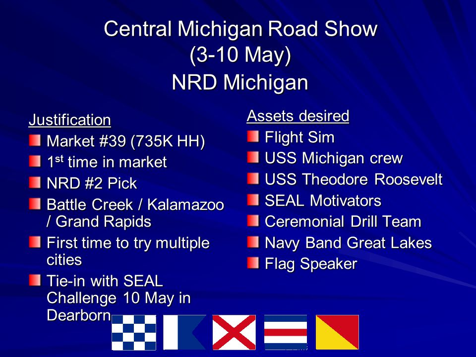 Central Michigan Road Show (3-10 May) NRD Michigan Justification Market #39 (735K HH)‏ 1 st time in market NRD #2 Pick Battle Creek / Kalamazoo / Grand Rapids First time to try multiple cities Tie-in with SEAL Challenge 10 May in Dearborn Assets desired Flight Sim USS Michigan crew USS Theodore Roosevelt SEAL Motivators Ceremonial Drill Team Navy Band Great Lakes Flag Speaker