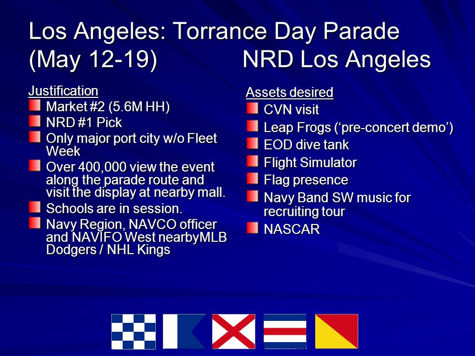 Los Angeles: Torrance Day Parade (May 12-19) NRD Los Angeles Justification Market #2 (5.6M HH)‏ NRD #1 Pick Only major port city w/o Fleet Week Over 400,000 view the event along the parade route and visit the display at nearby mall.