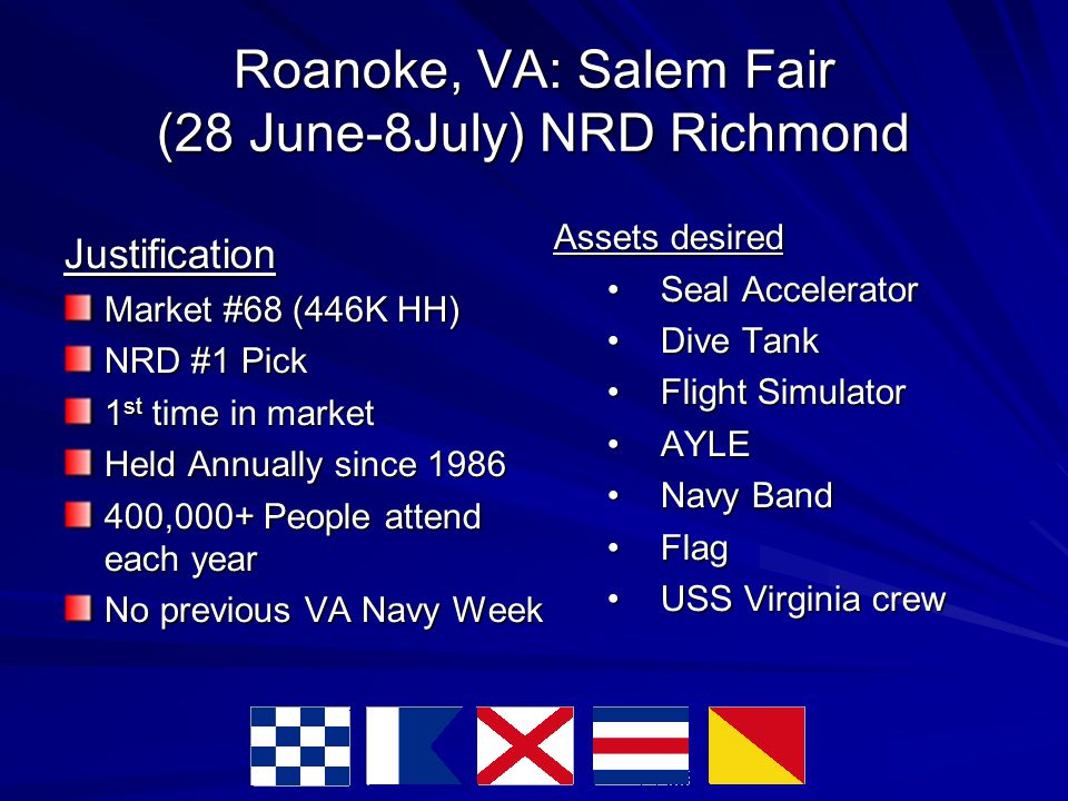Roanoke, VA: Salem Fair (28 June-8July) NRD Richmond Justification Market #68 (446K HH)‏ NRD #1 Pick 1 st time in market Held Annually since 1986 400,000+ People attend each year No previous VA Navy Week Assets desired Seal AcceleratorSeal Accelerator Dive TankDive Tank Flight SimulatorFlight Simulator AYLEAYLE Navy BandNavy Band FlagFlag USS Virginia crewUSS Virginia crew