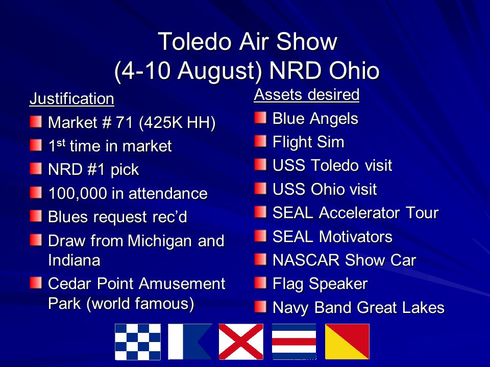 Toledo Air Show (4-10 August) NRD Ohio Justification Market # 71 (425K HH)‏ 1 st time in market NRD #1 pick 100,000 in attendance Blues request rec'd Draw from Michigan and Indiana Cedar Point Amusement Park (world famous)‏ Assets desired Blue Angels Flight Sim USS Toledo visit USS Ohio visit SEAL Accelerator Tour SEAL Motivators NASCAR Show Car Flag Speaker Navy Band Great Lakes