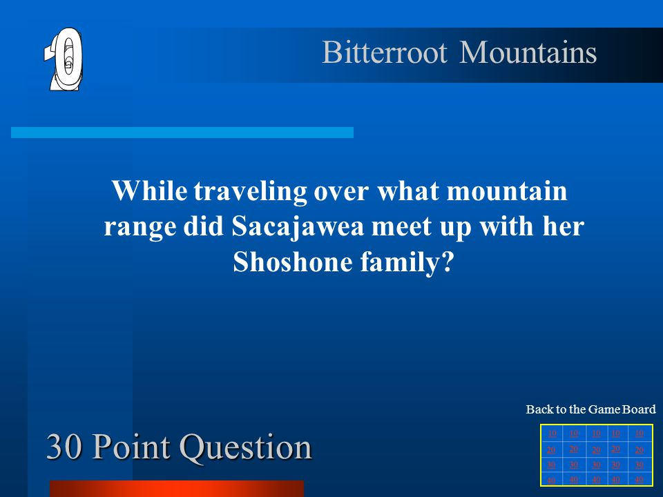 20 Point Question In what two ways did Sacajawea serve the expedition? Interpreter and guide Back to the Game Board