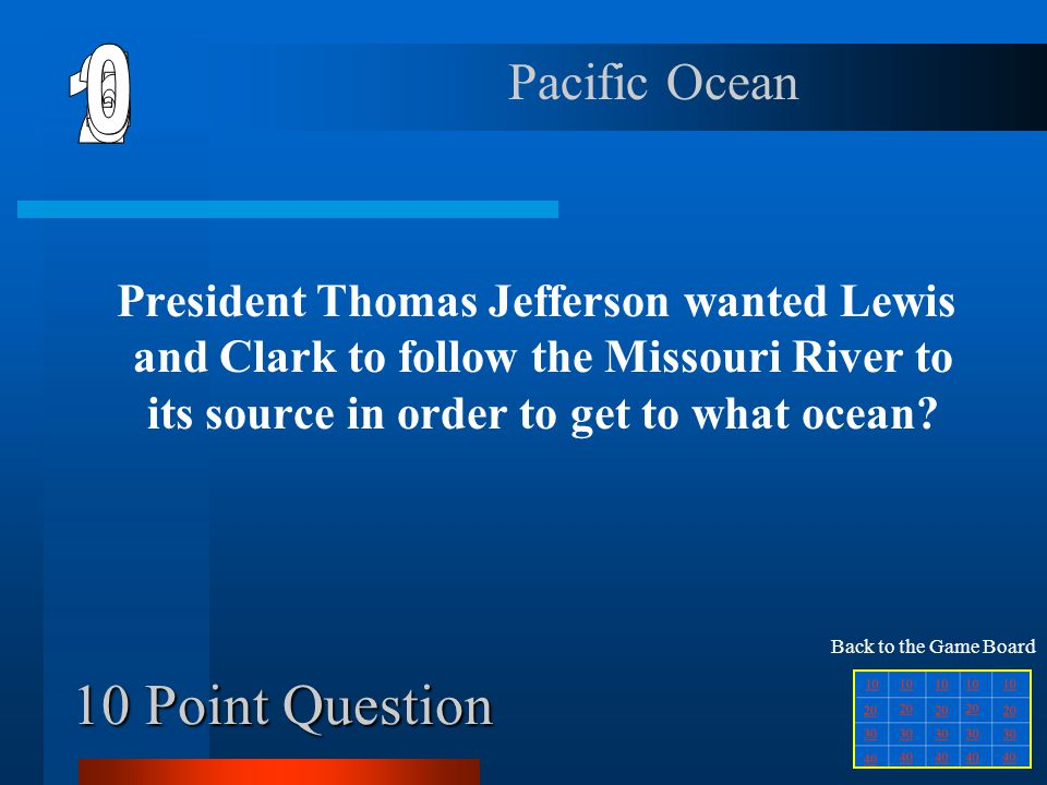 40 Point Question What did Clark nickname Jean-Baptiste, Sacajawea's first baby? Pompey Back to the Game Board