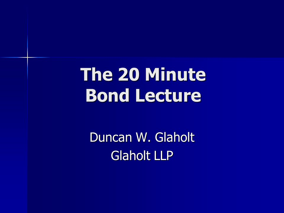 Q.: What is a Bond? But: It has real sticking power