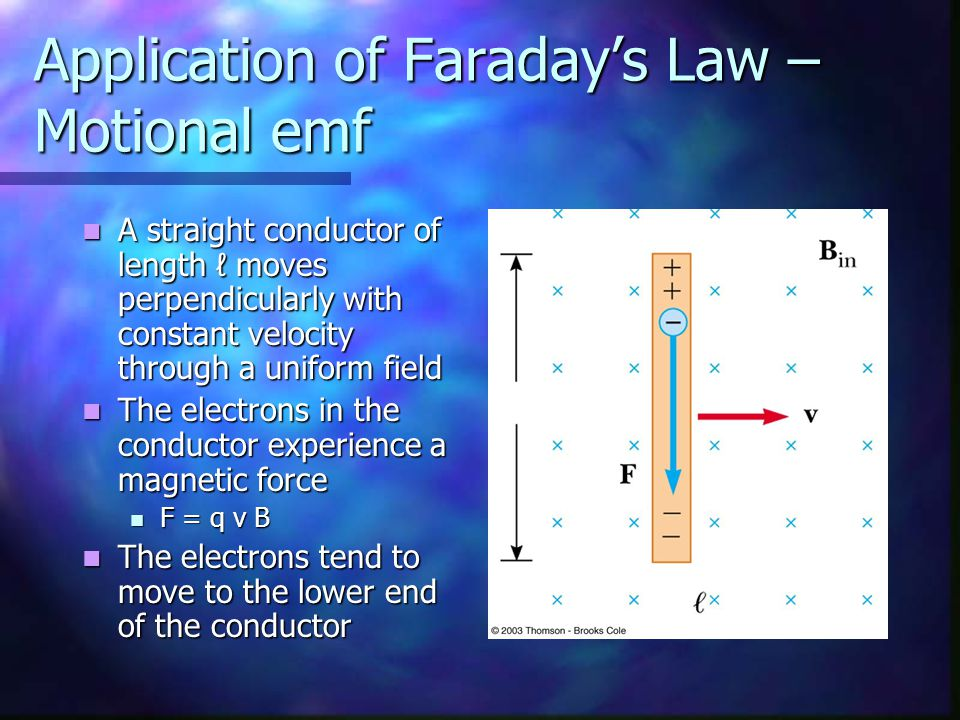 Application of Faraday's Law – Motional emf A straight conductor of length ℓ moves perpendicularly with constant velocity through a uniform field A st