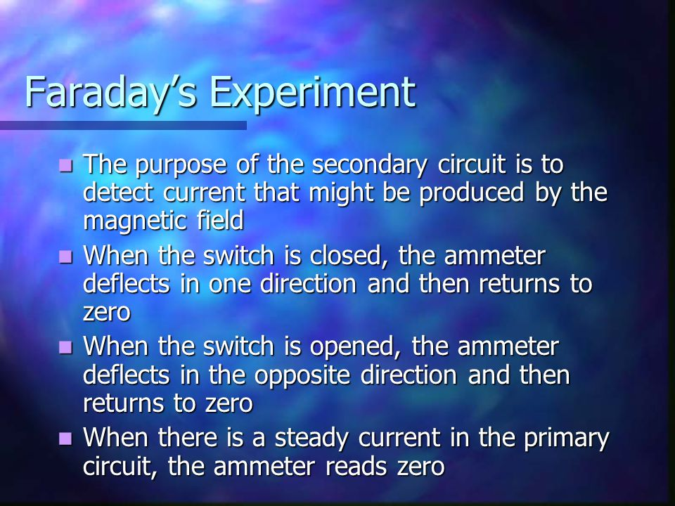 Faraday's Experiment The purpose of the secondary circuit is to detect current that might be produced by the magnetic field The purpose of the seconda