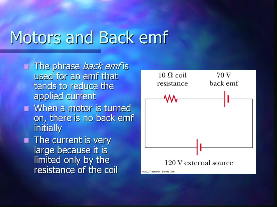 Motors and Back emf The phrase back emf is used for an emf that tends to reduce the applied current The phrase back emf is used for an emf that tends