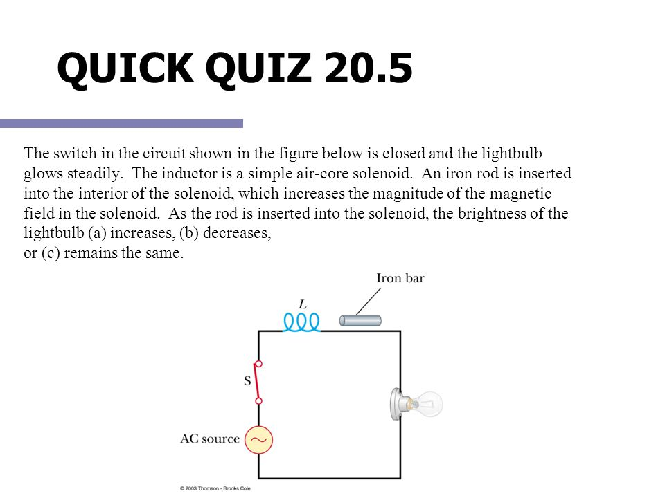 QUICK QUIZ 20.5 The switch in the circuit shown in the figure below is closed and the lightbulb glows steadily. The inductor is a simple air-core sole