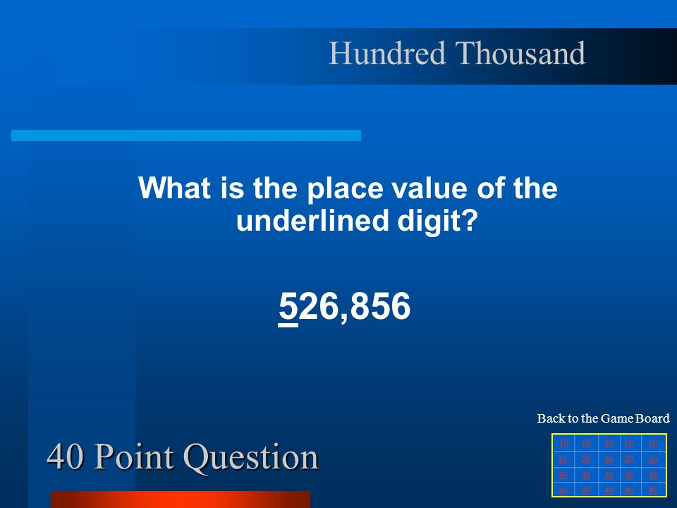 30 Point Question What is the place value of the underlined digit.