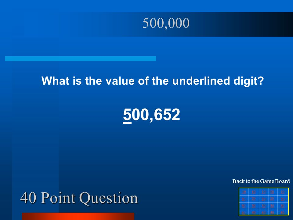 40 Point Question What is the value of the underlined digit? 500,652 500,000 Back to the Game Board