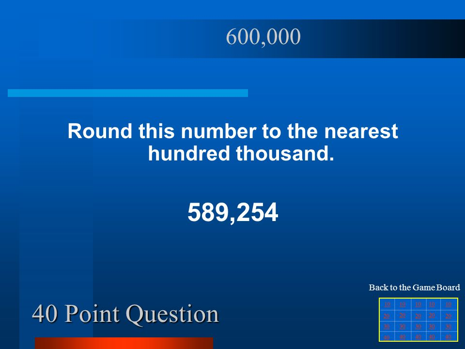 40 Point Question Round this number to the nearest hundred thousand.