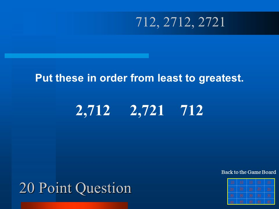 10 Point Question Put these in order from greatest to least.
