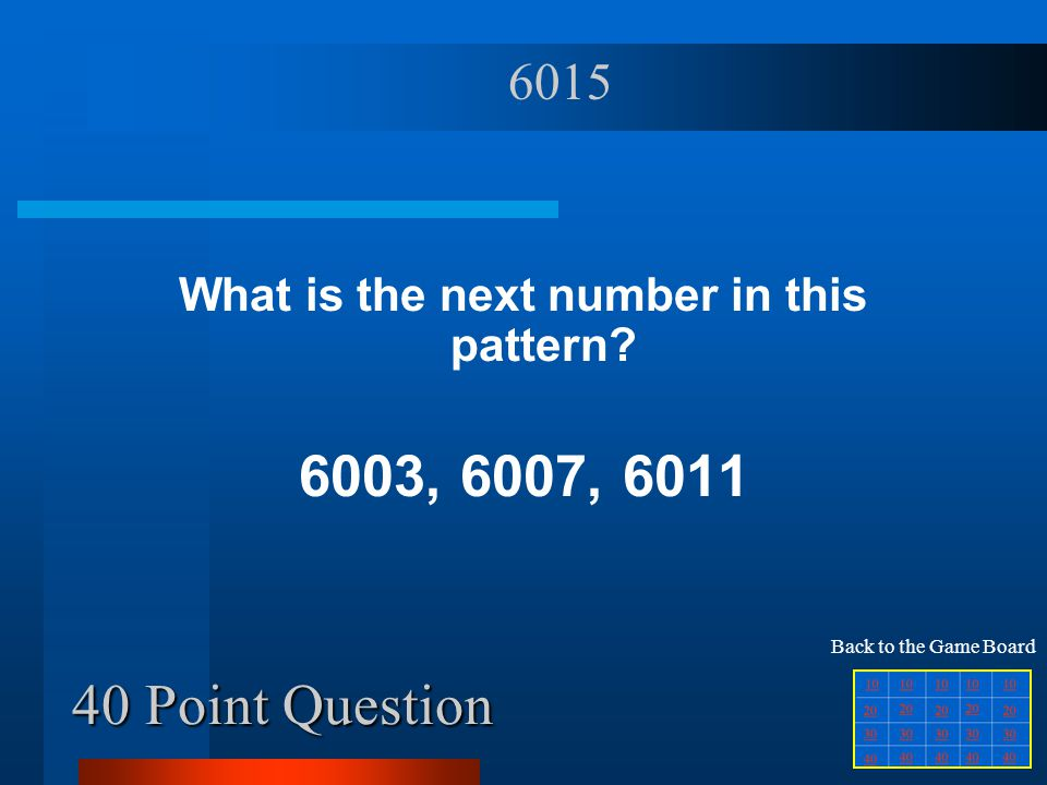 40 Point Question What is the next number in this pattern.