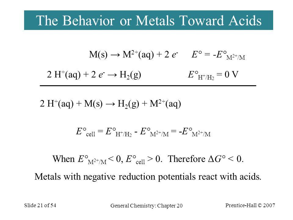 Prentice-Hall © 2007 General Chemistry: Chapter 20 Slide 21 of 54 The Behavior or Metals Toward Acids M(s) → M 2+ (aq) + 2 e - E° = -E° M 2+ /M 2 H +