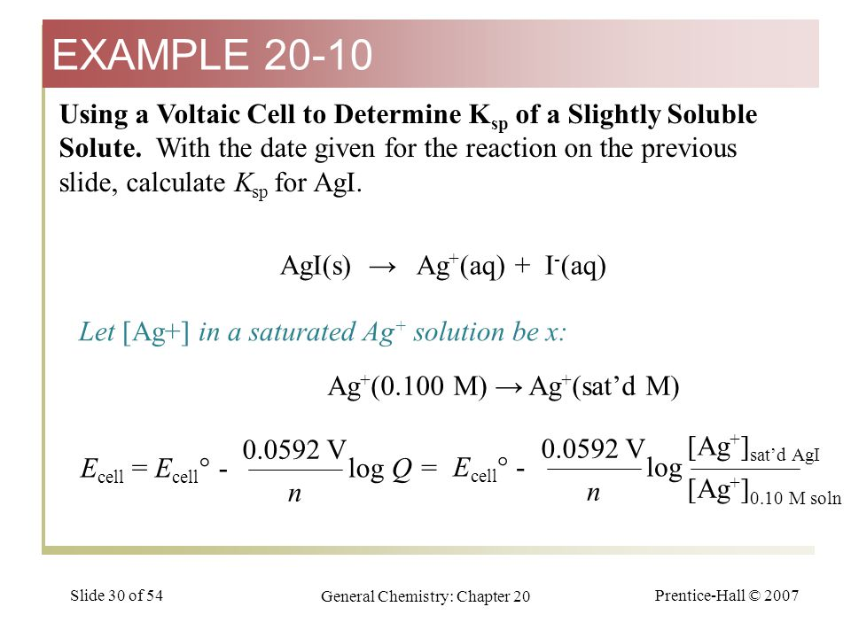 Prentice-Hall © 2007 General Chemistry: Chapter 20 Slide 30 of 54 Using a Voltaic Cell to Determine K sp of a Slightly Soluble Solute. With the date g
