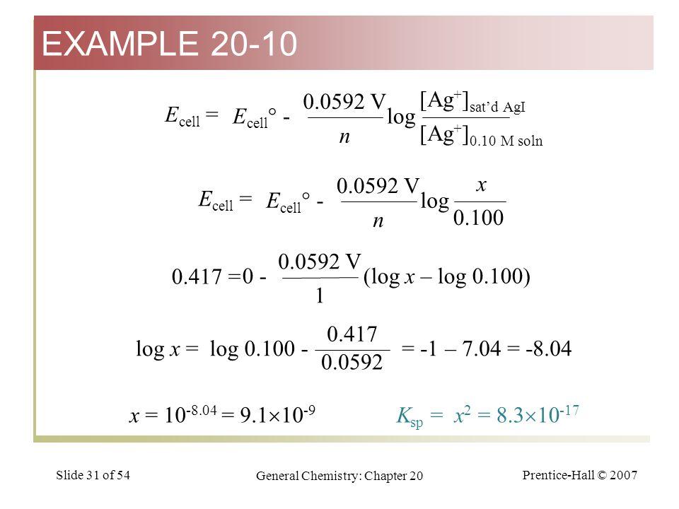 Prentice-Hall © 2007 General Chemistry: Chapter 20 Slide 31 of 54 E cell = E cell ° - log n 0.0592 V [Ag + ] 0.10 M soln [Ag + ] sat'd AgI E cell = E