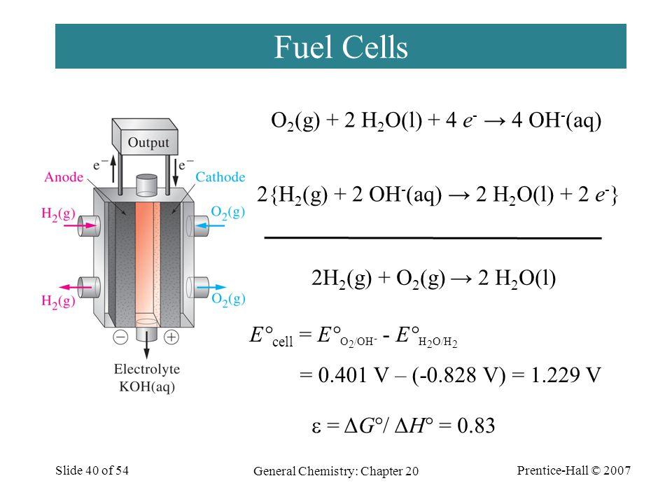 Prentice-Hall © 2007 General Chemistry: Chapter 20 Slide 40 of 54 Fuel Cells O 2 (g) + 2 H 2 O(l) + 4 e - → 4 OH - (aq) 2{H 2 (g) + 2 OH - (aq) → 2 H