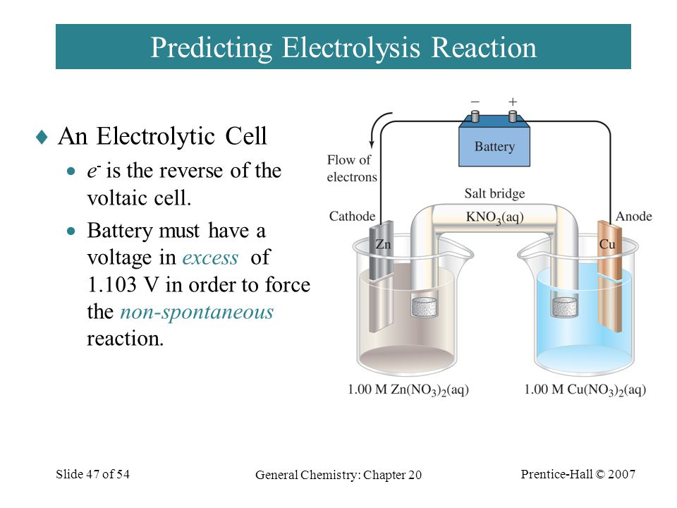 Prentice-Hall © 2007 General Chemistry: Chapter 20 Slide 47 of 54 Predicting Electrolysis Reaction  An Electrolytic Cell  e - is the reverse of the