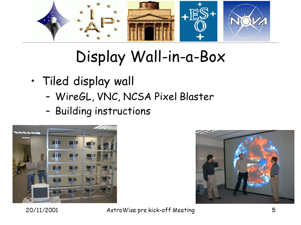 20/11/2001AstroWise pre kick-off Meeting5 Display Wall-in-a-Box Tiled display wall –WireGL, VNC, NCSA Pixel Blaster –Building instructions