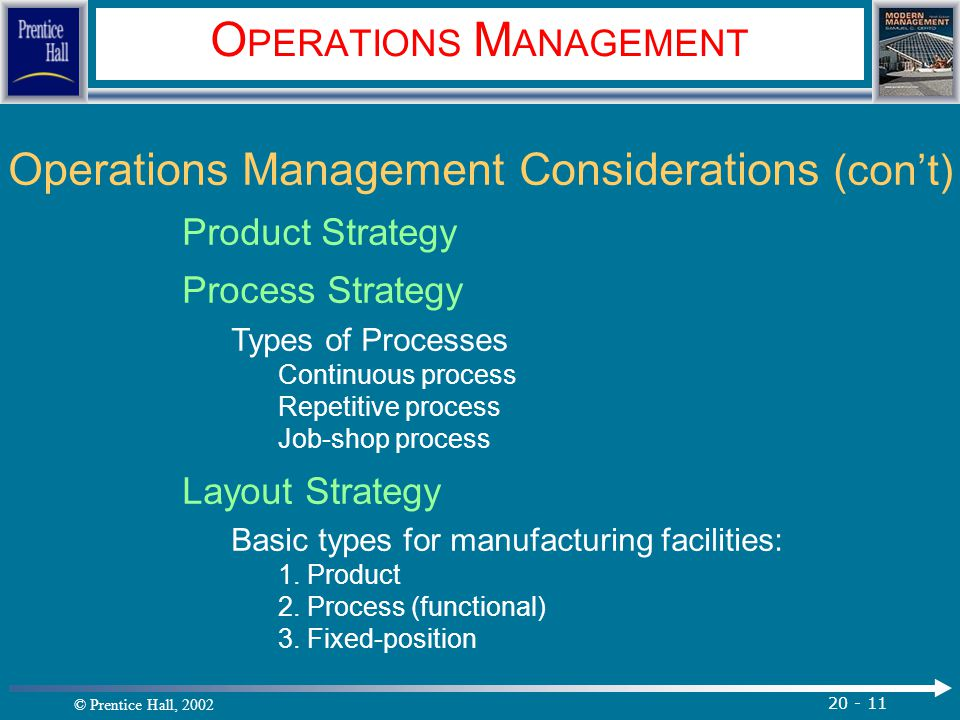 © Prentice Hall, 2002 20 - 11 O PERATIONS M ANAGEMENT Operations Management Considerations (con't) Product Strategy Process Strategy Types of Processe
