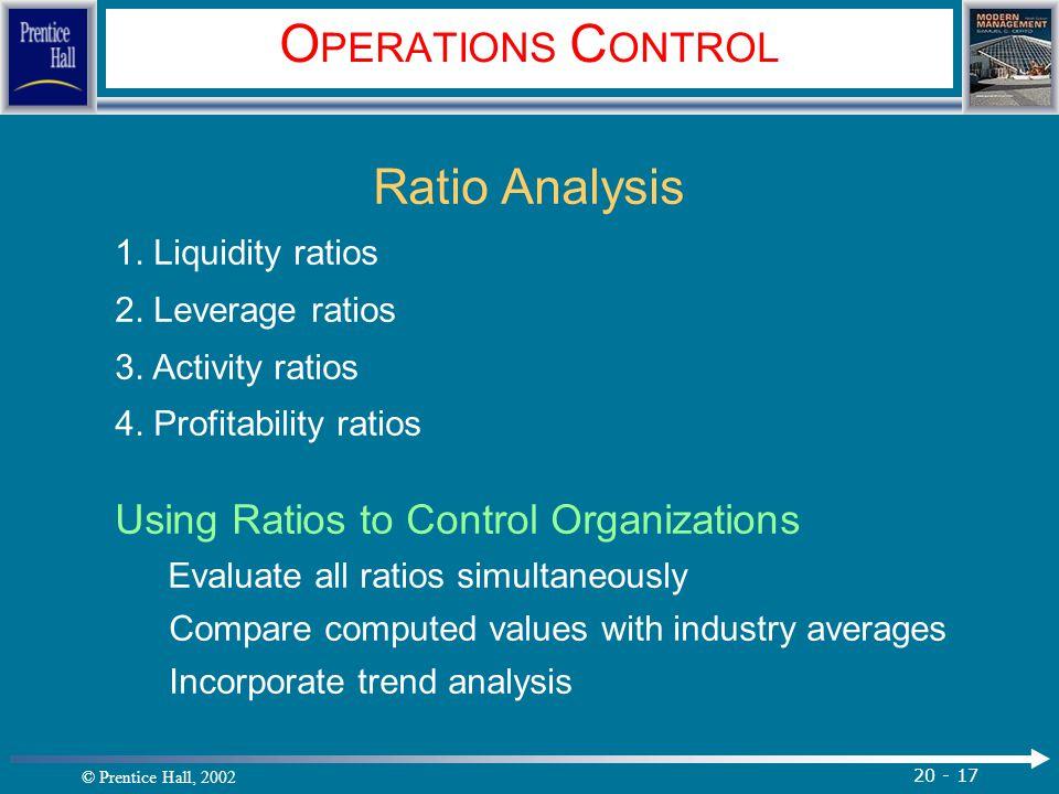 © Prentice Hall, 2002 20 - 17 O PERATIONS C ONTROL Ratio Analysis 1. Liquidity ratios 2. Leverage ratios 3. Activity ratios 4. Profitability ratios Us