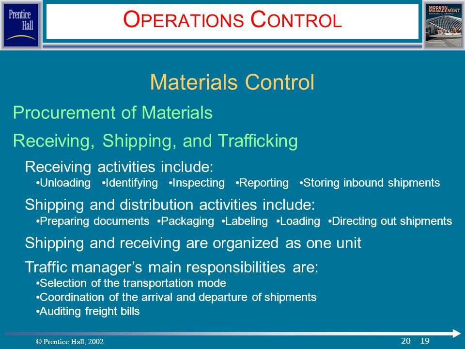 © Prentice Hall, 2002 20 - 19 O PERATIONS C ONTROL Materials Control Procurement of Materials Receiving, Shipping, and Trafficking Receiving activitie