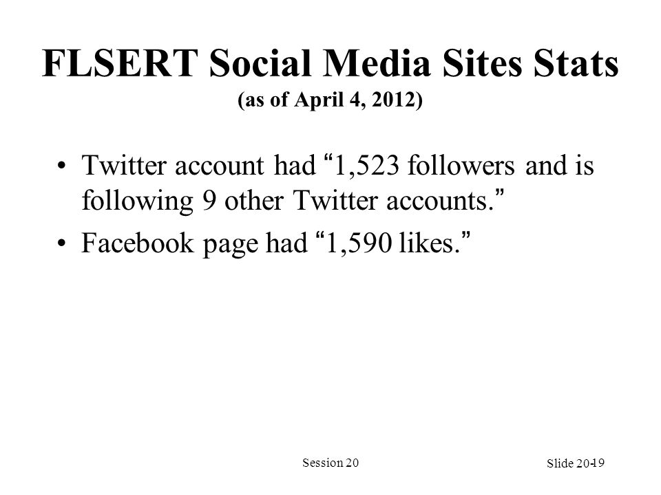 FLSERT Social Media Sites Stats (as of April 4, 2012) Twitter account had 1,523 followers and is following 9 other Twitter accounts. Facebook page had 1,590 likes. Session 2019 Slide 20-
