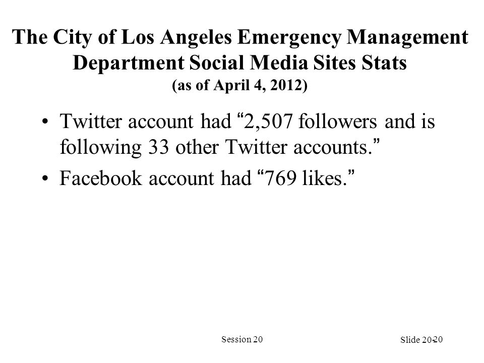 The City of Los Angeles Emergency Management Department Social Media Sites Stats (as of April 4, 2012) Twitter account had 2,507 followers and is following 33 other Twitter accounts. Facebook account had 769 likes. Session 2020 Slide 20-