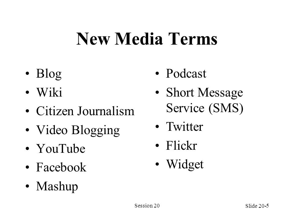New Media Terms Blog Wiki Citizen Journalism Video Blogging YouTube Facebook Mashup Session 205 Podcast Short Message Service (SMS) Twitter Flickr Wid