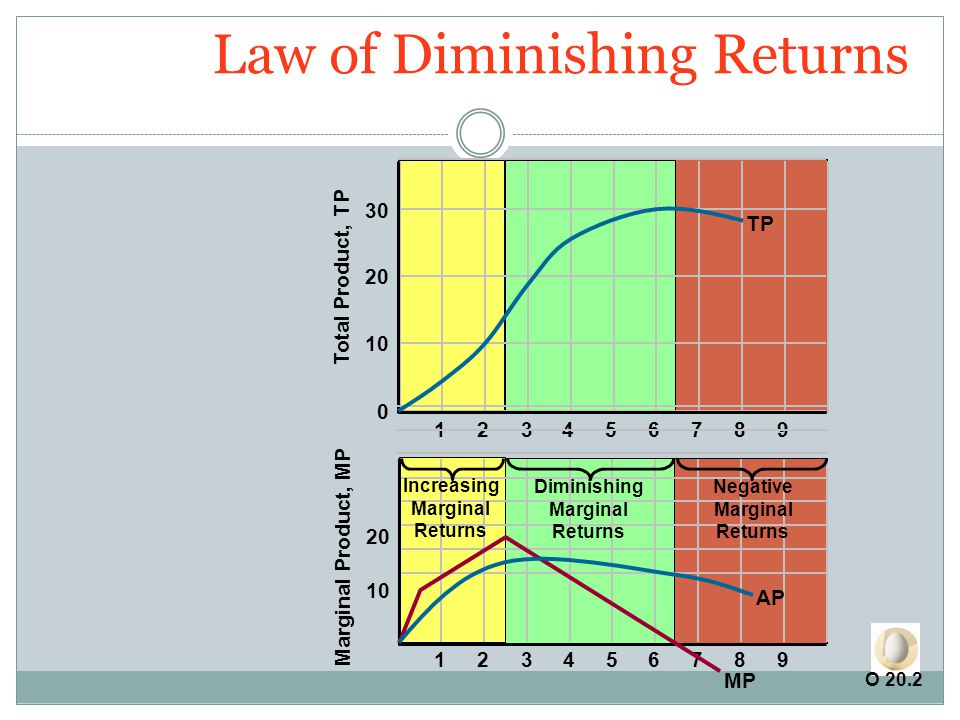 Law of Diminishing Returns 0 10 20 30 Total Product, TP 123456789 20 10 Marginal Product, MP 123456789 TP MP AP Increasing Marginal Returns Diminishing Marginal Returns Negative Marginal Returns O 20.2