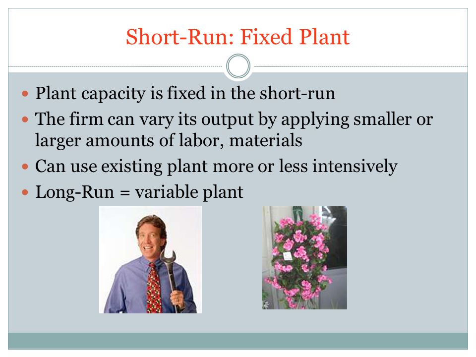 Short-Run: Fixed Plant Plant capacity is fixed in the short-run The firm can vary its output by applying smaller or larger amounts of labor, materials Can use existing plant more or less intensively Long-Run = variable plant