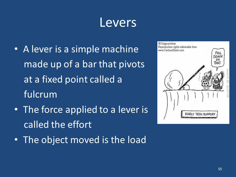 Levers Levers make work easier in three different ways, and levers are therefore classified into three groups 16