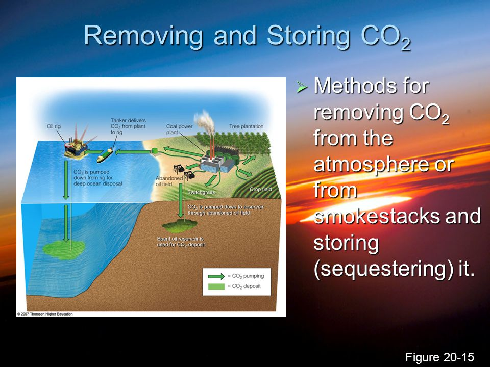 Removing and Storing CO 2  Methods for removing CO 2 from the atmosphere or from smokestacks and storing (sequestering) it. Figure 20-15