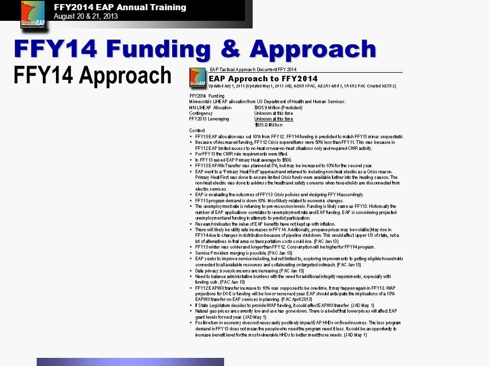 FFY2014 EAP Annual Training August 20 & 21, 2013 FFY2014 EAP Annual Training August 20 & 21, 2013 FFY14 Funding & Approach FFY14 Approach