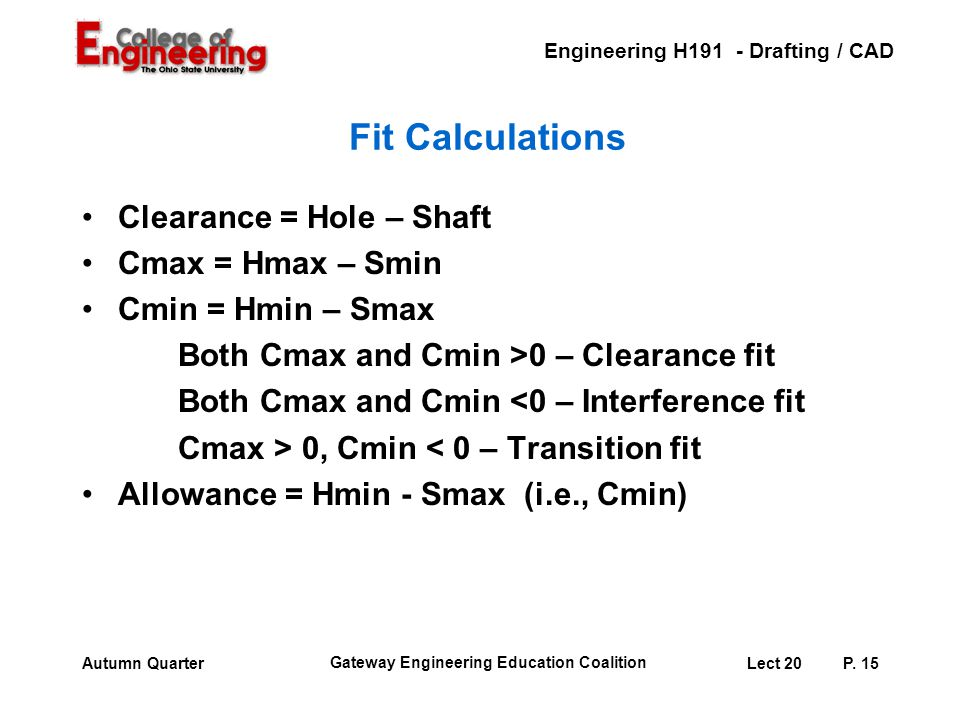 Engineering H191 - Drafting / CAD Gateway Engineering Education Coalition Lect 20P. 15Autumn Quarter Fit Calculations Clearance = Hole – Shaft Cmax =