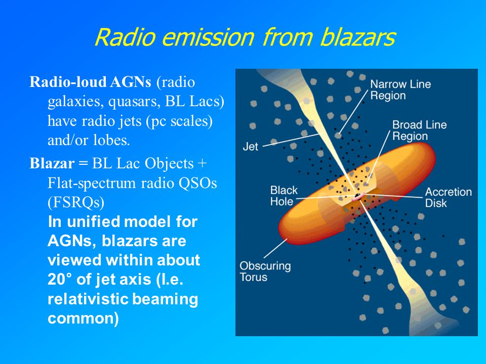 Radio emission from blazars Radio-loud AGNs (radio galaxies, quasars, BL Lacs) have radio jets (pc scales) and/or lobes.