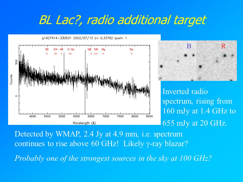 BL Lac?, radio additional target BR Inverted radio spectrum, rising from 160 mJy at 1.4 GHz to 655 mJy at 20 GHz. Detected by WMAP, 2.4 Jy at 4.9 mm,