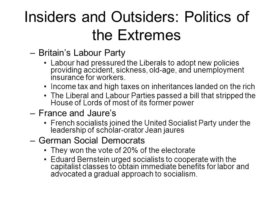 Insiders and Outsiders: Politics of the Extremes –Britain's Labour Party Labour had pressured the Liberals to adopt new policies providing accident, sickness, old-age, and unemployment insurance for workers.